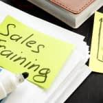 Sales Training post it on a desk
